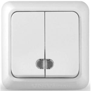 Олимп (Universal) Выключатель 2-кл. с подсветкой ОП