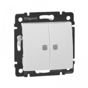 Валена (Легранд) Выключатель 2-кл. с подсветкой белый СП (механизм)