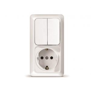 Олимп (Universal) Блок выкл. 2-кл. + розетка 1-м. с заземл. вертик. ОП