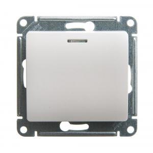 Глосса (Шнайдер) Выключатель 1-кл. с подсветкой перламутр СП (механизм)