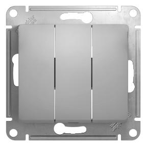 Глосса (Шнайдер) Выключатель 3-кл. алюминий СП (механизм)