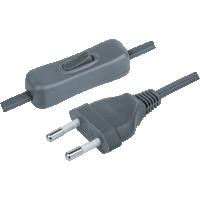 Шнур с вилкой и выключателем 1.7м ШВВП 2х0.5 серый