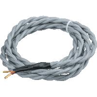 Провод декоративный Винтаж витой 2 х 0,75 1,5м серый