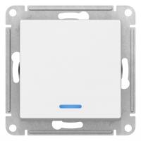 Атлас Дизайн (Шнайдер) Выключатель 1-кл. с подсветкой белый СП (механизм)