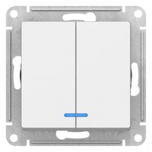 Атлас Дизайн (Шнайдер) Выключатель 2-кл. с подсветкой белый СП (механизм)