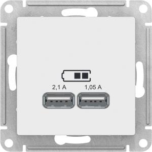 Атлас Дизайн (Шнайдер) Розетка USB белый СП (механизм)