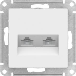 Атлас Дизайн (Шнайдер) Розетка компьютерная + компьютерная белый СП (механизм)