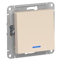 Атлас Дизайн (Шнайдер) Выключатель 1-кл. с подсветкой бежевый СП (механизм)