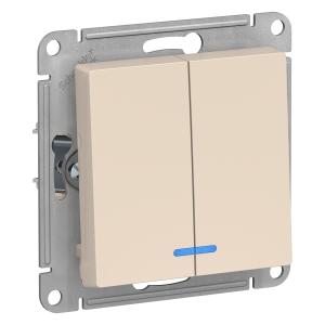 Атлас Дизайн (Шнайдер) Выключатель 2-кл. с подсветкой бежевый СП (механизм)