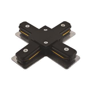 Коннектор для шинопровода X-образ. черный Jazzway