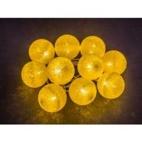 Гирлянда светодиодная Золотые шарики 10LED жел. 1.8м (бат.2хАА)  3W IP20