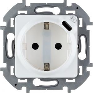 Инспирия (Легранд) Розетка с заземлением USB белый (механизм)
