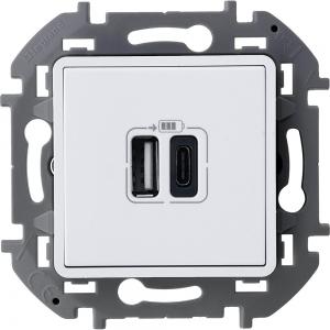 Инспирия (Легранд) Розетка с двумя USB-разъемами TYPE A+TYPE C  белый (механизм)